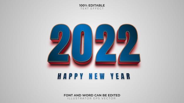 Feliz año nuevo efecto texto azul rojo brillante led completamente editable