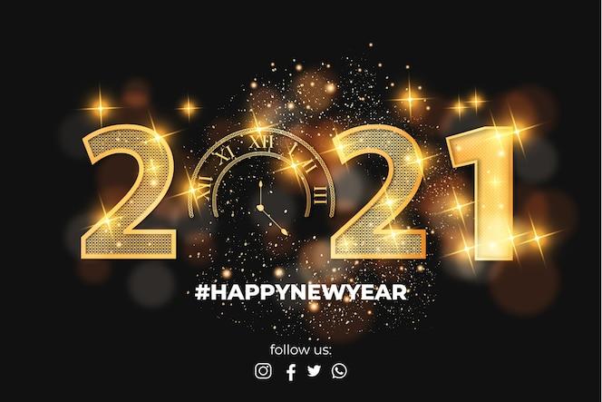 Feliz año nuevo efecto de texto dorado 2021 realista con bokeh