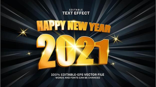 Feliz año nuevo efecto de texto dorado
