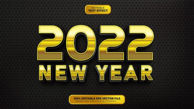 Feliz año nuevo efecto de texto editable 3d dorado negro
