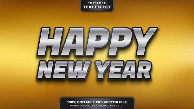 Feliz año nuevo efecto de texto editable 3d negro plateado