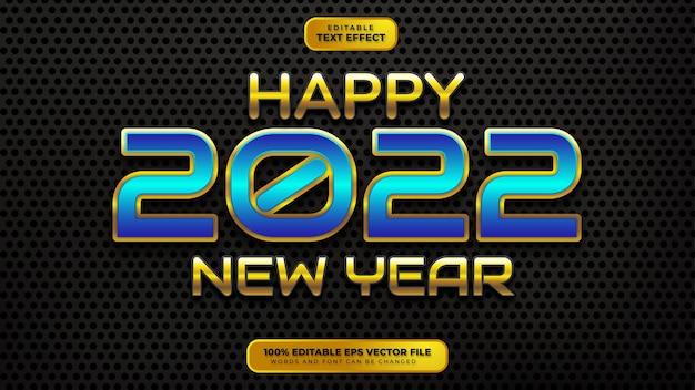 Feliz año nuevo efecto de texto editable 3d de oro azul
