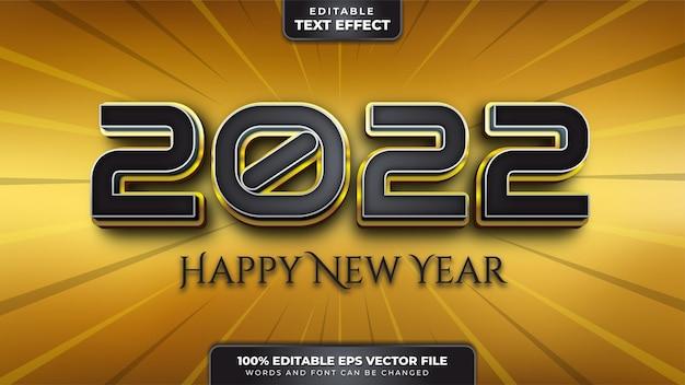 Feliz año nuevo efecto de texto editable 3d de oro negro