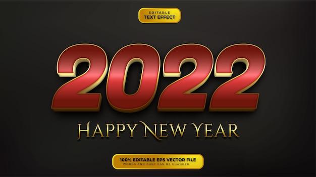 Feliz año nuevo efecto de texto editable 3d de oro rojo