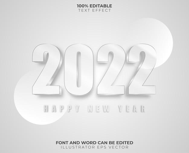 Feliz año nuevo efecto texto transparente blanco brillante completamente editable