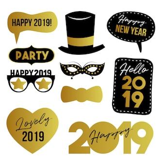 Feliz año nuevo elementos