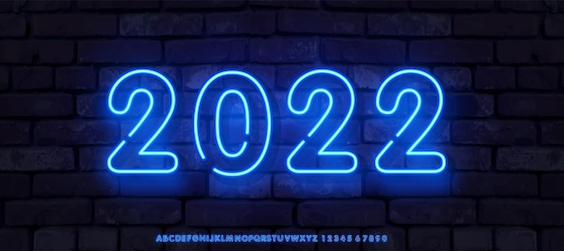 Feliz año nuevo en estilo neón degradado brillante plantilla de vector de banner de pared de ladrillo largo para encabezado web