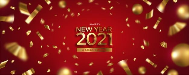Feliz año nuevo y feliz navidad banner con confeti dorado y bolas
