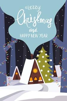 Feliz año nuevo y feliz navidad casa en el bosque de invierno guirnaldas y abetos