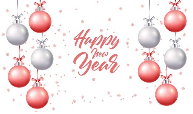 Feliz año nuevo, feliz navidad, hola invierno, bola de navidad realista, compre ahora, banner de venta, ilustración aislada de bola rosa y plata