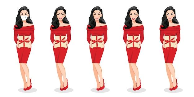 Feliz año nuevo y feliz navidad con mujer sorprendida emocionada en vestido de suéter rojo con caja presente