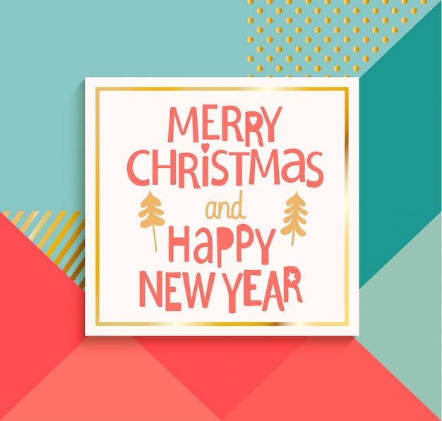 Feliz año nuevo y feliz navidad tarjeta moderna.