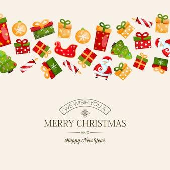 Feliz año nuevo festivo y tarjeta de navidad con inscripción de saludo y coloridos símbolos navideños en la luz