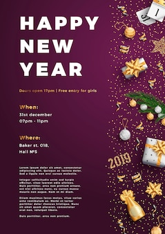Feliz año nuevo fiesta diseño cartel cartel o plantilla de volante.
