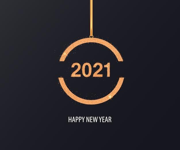 Feliz año nuevo fondo con adorno dorado