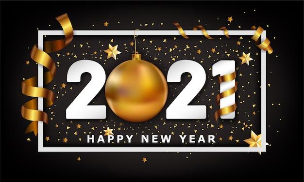 Feliz año nuevo fondo con adorno navideño dorado y elementos de rayas