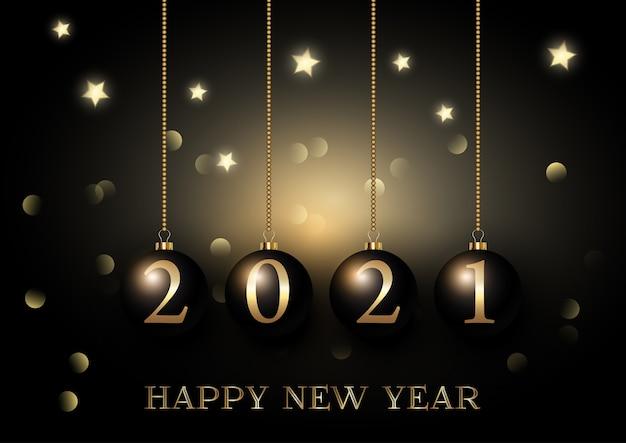 Feliz año nuevo fondo con adornos colgantes en luces bokeh y diseño de estrellas