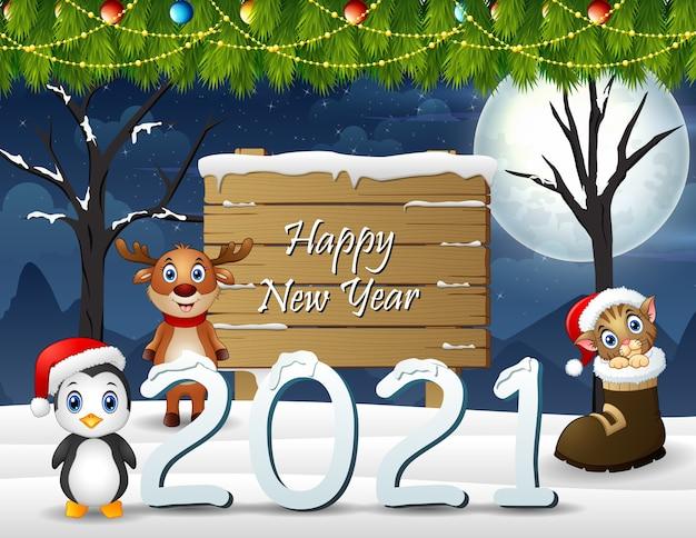 Feliz año nuevo fondo con animales