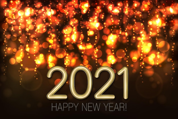 Feliz año nuevo fondo brillante con brillo dorado y confeti.