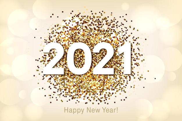 Feliz año nuevo fondo con brillo multicolor y confeti.