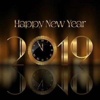 Feliz año nuevo fondo con cara de reloj