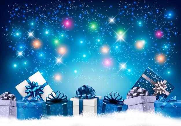 Feliz año nuevo fondo con coloridos regalos y fuegos artificiales.