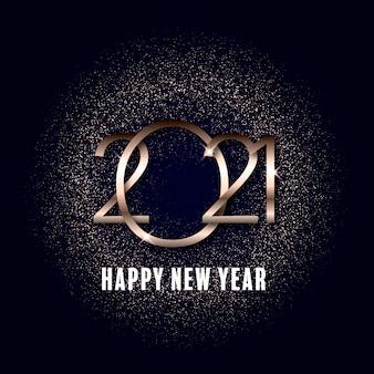 Feliz año nuevo fondo con diseño dorado brillante metálico