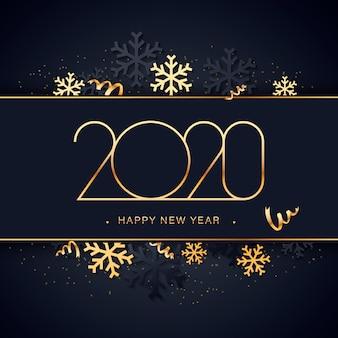 Feliz año nuevo fondo dorado y azul con decoración navideña