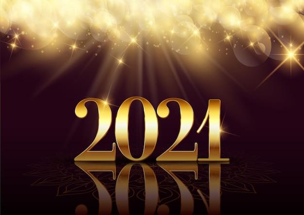 Feliz año nuevo fondo con un elegante diseño dorado