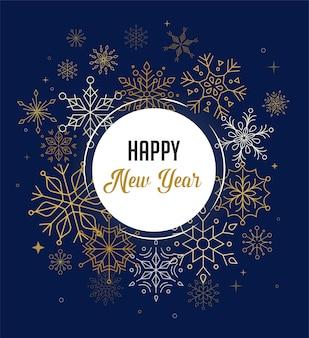 Feliz año nuevo, fondo feliz navidad con un diseño moderno y limpio de copos de nieve geométricos