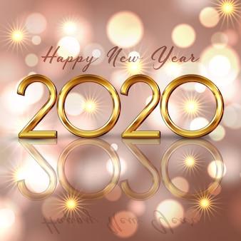 Feliz año nuevo fondo con letras doradas y diseño de luces bokeh