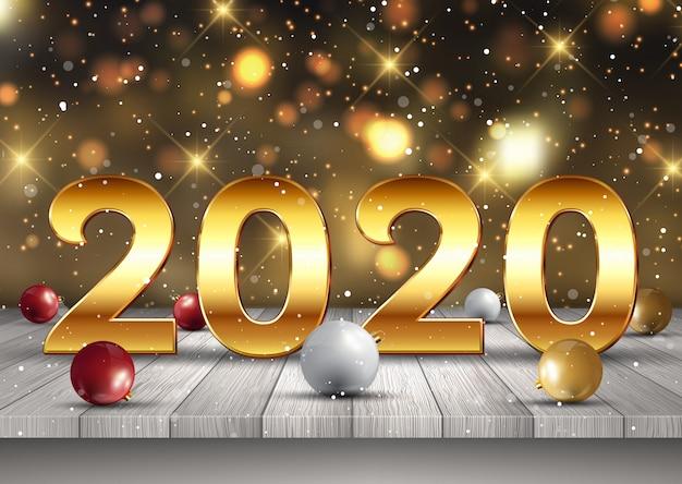 Feliz año nuevo fondo con letras doradas en mesa de madera