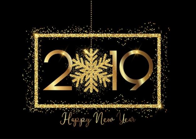 Feliz año nuevo de fondo con letras de oro y brillante diseño de copo de nieve
