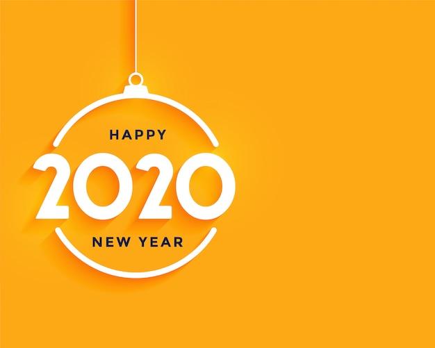 Feliz año nuevo fondo mínimo amarillo brillante
