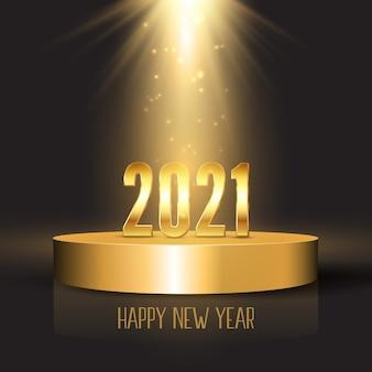 Feliz año nuevo fondo con números de oro en la pantalla del podio bajo focos