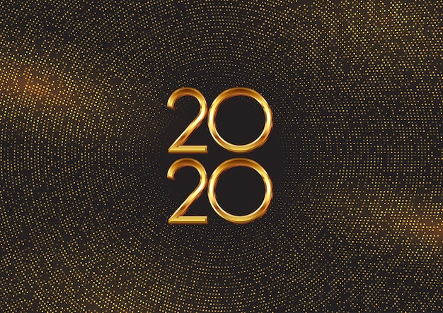 Feliz año nuevo fondo con puntos dorados y números