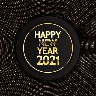 Feliz año nuevo fondo con puntos de semitono dorados y letras metálicas