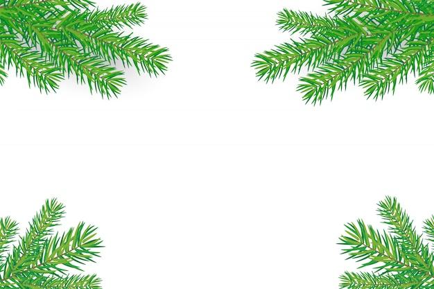 Feliz año nuevo fondo con ramas de árboles de navidad