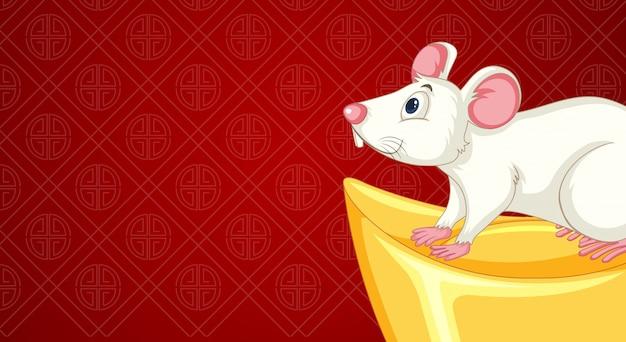 Feliz año nuevo fondo con la rata y el oro
