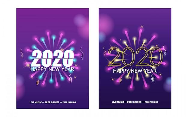 Feliz año nuevo con fuegos artificiales festivos