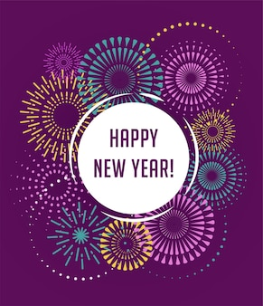 Feliz año nuevo, fuegos artificiales y fondo de celebración, cartel, banner