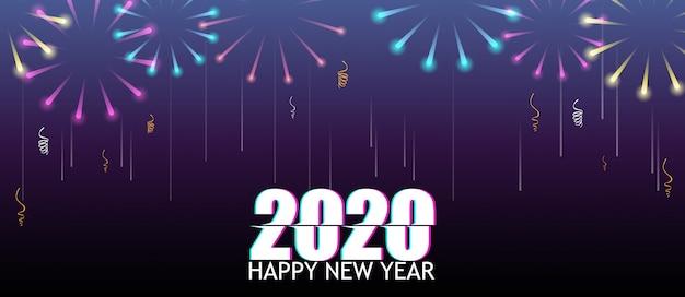 Feliz año nuevo con fuegos artificiales