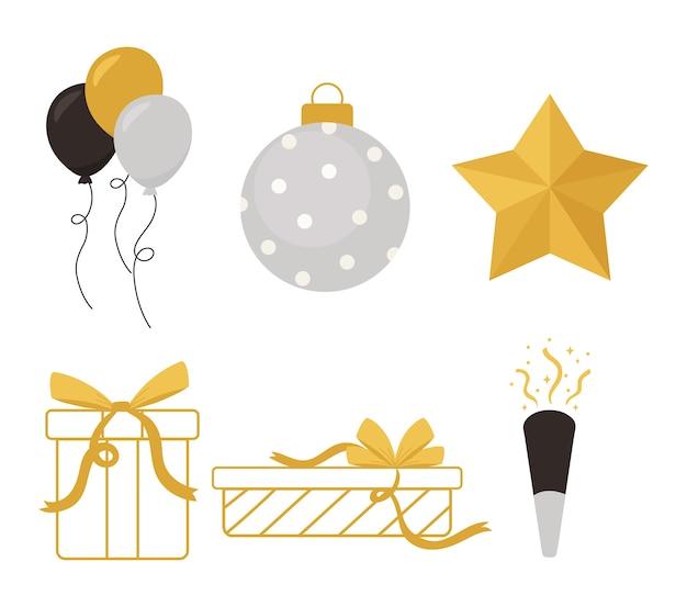Feliz año nuevo, globos de regalos de bolas de estrellas e iconos de confeti ilustración vectorial