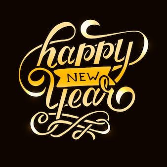 Feliz año nuevo gradiente frase letras caligrafía etiqueta dorada