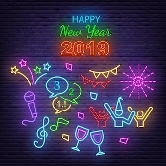 Feliz año nuevo iconos de neón