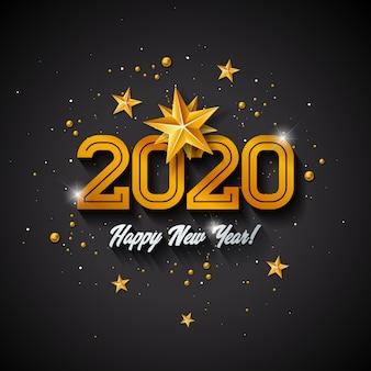 Feliz año nuevo ilustración con número de oro 3d, bola de navidad y guirnalda de luces
