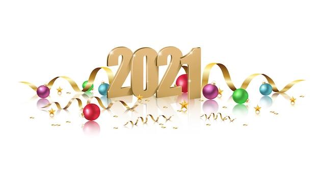 Feliz año nuevo, ilustración de números dorados con bolas de navidad, invitación de celebración de ny sobre fondo blanco.