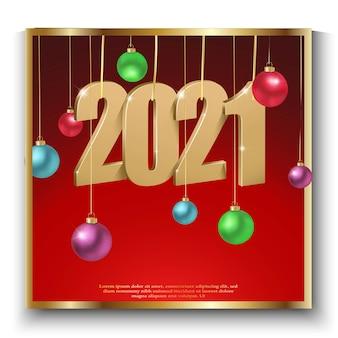 Feliz año nuevo, ilustración de los números del logo dorado y feliz año nuevo sobre fondo rojo con bolas de navidad, invitación a la celebración de nueva york.