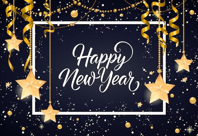 Feliz año nuevo inscripción con adornos