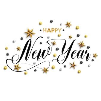 Feliz año nuevo inscripción decorada con estrellas doradas.